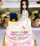 white cream 2 layers women white dress hand  bag white table irthday cake