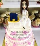 white cream 2 layers women white dress hand  bag white table irthday cake