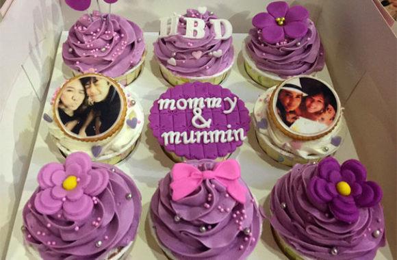 purple cupcake with photo portrait