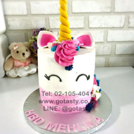 Pink and white 3d cream cake of Pony from My little Pony with flower decorations