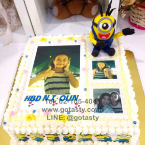 Yellow 3d and photo cake of Minion from The Walt Disney Minion photo decorations