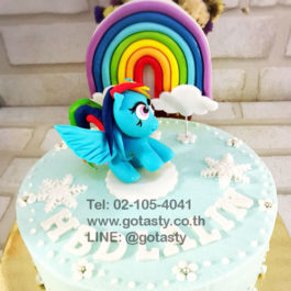 Blue and white 3d cream cake of Pony from My little Pony with rainbow, cloud and snow decorations
