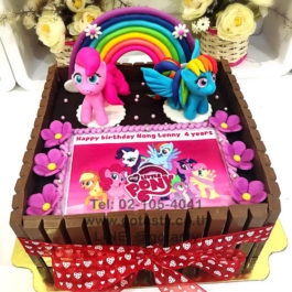 KitKat 3d photo cream chocolate cake of Pony from My little Pony with flower, rainbow and bow decorations