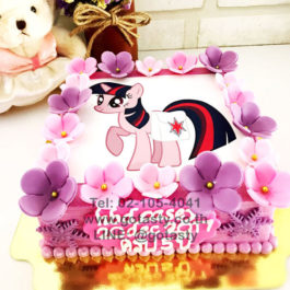 Pink cream photo cake of Pony from My little Pony with flower decorations