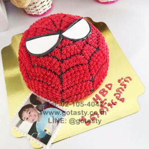 Red photo cake of super hero Spider man from Marvel
