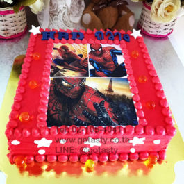 Red photo cake of super hero Spider man from Marvel with star and jelly decorations