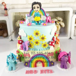 Blue and yellow 2 layers 3d cream cake of Pony from My little Pony with flower, cloud and rainbow decorations