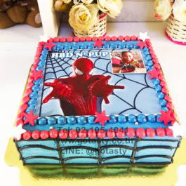 White and red photo cake of super hero Spider man from Marvel with star decorations