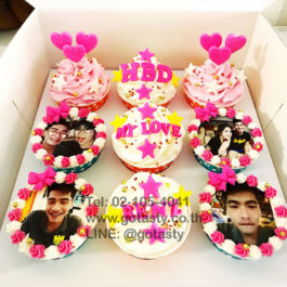 White and pink cupcake photo with heart, bow and star decorations
