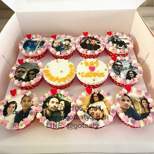 Anniversary couple cupcake