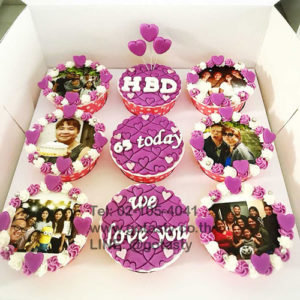 White and purple cupcake photo with heart decorations