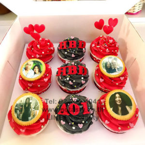 Red and black cupcake photo with heart decorations