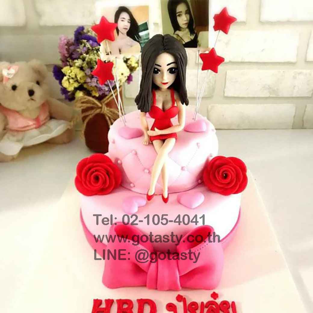 Lady 2 layers fondant cake